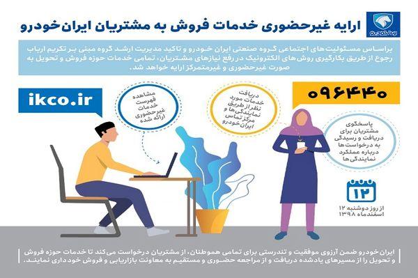 خدمات فروش ایران خودرو از فردا غیرحضوری ارائه می شود