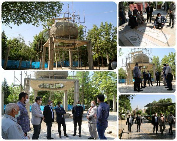 پیشرفت 85 درصدی ساخت المان مقبره شهدای بوستان گلزارمنطقه 15