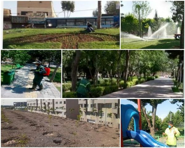 نظافت و ضدعفونی مستمر تجهیزات و المان های پارکی در منطقه ۱۵