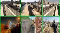 عملیات رفع گلوگاه های سیلابی کانال سیل برگردان غرب در محل تقاطع با پل شهید آریافر و پل نصر