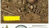 وسایل جالبی که با یک اسکلت قدیمی دفن شده است+عکس