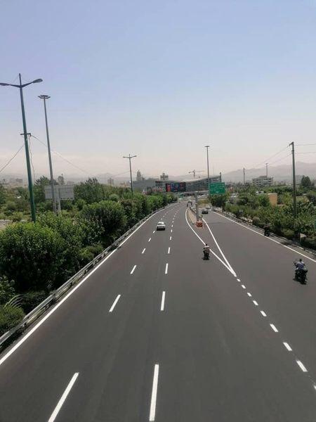 اجرای 10000 متر خط کشی محوری در بزرگراه نیایش