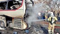 آتشسوزی اتوبوس بین شهری در تهران + عکس