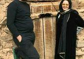 تیپ رنگی بهاره رهنما در کنار همسرش+ عکس