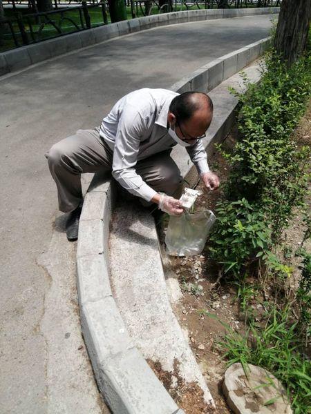 جمع آوری پوکه های سیگار از معابر و بوستان های منطقه 3