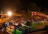 وضعیت پراید پس از ضربه محکم کامیون از پشت+عکس