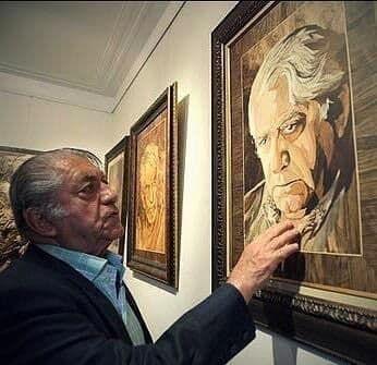 """پرتره معرق """"آقای بازیگر"""" به خانه موزه انتظامی هدیه شد"""